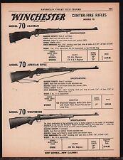 1961 WINCHESTER Model 70 Alaskan, African & Westerner Center-Fire Rifle AD