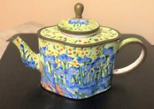 2001 Minature Kelvin Chen Enamel Tea Pot #6004 Vincent Blue Flower Garden