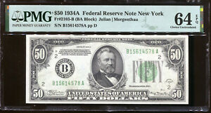 1934-A $50 Federal Reserve Note New York B15614578A PMG Choice 64EPQ