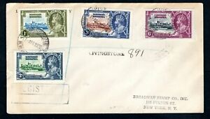 Northern Rhodesia - 1935 KGV Silver Jubilee Set on Registered Cover to New York