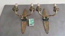 Paire superbes grandes appliques en bronze style empire 2 feux à décor palmette