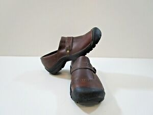 KEEN Womens Kaci Brown Leather Casual Flats Size 11 EUC *missing one insole*