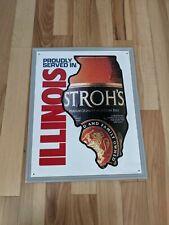 Nos Strohs Beer Serve Illinois Sign Metal Tin Sign