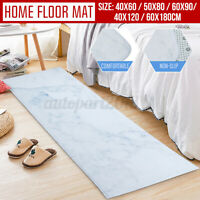 Non-Slip Carpet Marble Texture Pattern Printed Floor Mat Polyester Home Kitchen