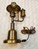 """VINTAGE UNDERWRITERS LABORATORIES ANTIQUE Weather BRASS DESKTOP LAMP 14.5"""" Tall"""
