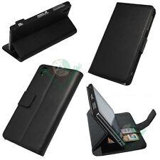 Custodia NERA eco pelle per Sony Xperia Z1 BOOKLET stand+tasche porta schede