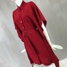 Vestido de Verano Hermes Mujer Camisa De Seda Roja Cinturón Día Cóctel de Cape Talla XS 34 US 2
