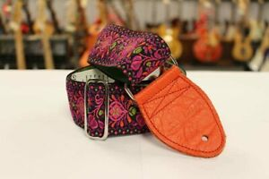 """Souldier Hendrix Magenta with Orange Leather Ends 2"""" Guitar Strap *Free Shipping"""