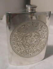 ANTIQUE STERLING SILVER FLASK LARGE AZTEC DESIGN  FRONT FOOLPROOF TOP
