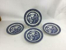 """Churchill Blue Willow 4 Dinner Plates 10 1/4"""" Made in England Excellent"""