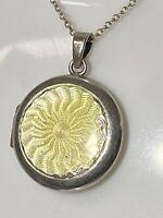 Antique/Vintage Sterling Silver & Yellow Guilloche Enamel Locket & Chain