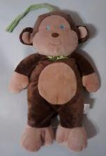 Prestige Baby Musical Monkey Plush Crib Pull Toy Brown Tan Green Bow Ribbon Tie