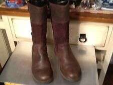 Clarks mid-  Calf Women Brown Suede/leather Winter Boot zip up Sz- 38 US-7.5