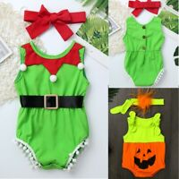 Infant Baby Girls Romper Christmas Costume Back Button Jumpsuit Headband Outfits