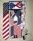 US Flag American Flag Suspenders,Lanyard,Tie &US Patriotic Flag Adj. Bow Tie-v12