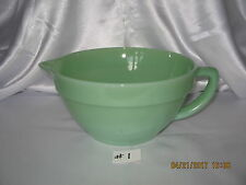 "Fire King Jadeite Colonial Handled Batter Bowl~Pitcher with Pouring Lip~1"" Band"
