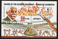 JERSEY MNH UMM STAMP SHEET 1996 SG MS751 CAPEX '96 FATHER OF THE OLYMPICS