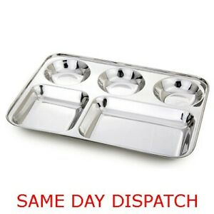 Stainless Steel 5 Compartment Food Serving Dish Indian Large Thali Dinner Plate