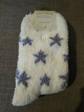 FAT FACE FLUFFY STAR SOCKS ONE SIZE (UK 4-7) CREAM/WHITE WITH GREY STARS - COSY