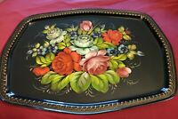 Vintage Hand Painted Roses Floral Flowers Signed Stamped Metal Tole Tray.