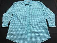 Cinch Mens Blue Plaid Front Pocket Button Front Shirt Size 2XL