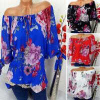 Summer Womens Casual Plus Size Short Sleeve Print Blouse Tunic T Shirt Top S-5XL