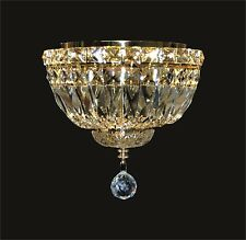 "Chandelier-Style FLUSH MOUNT; 4 LIGHT, GOLD Frame, Clear CRYSTALS (D10"" x H8"")"