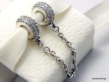 NEW! AUTHENTIC PANDORA SILVER CHARM PAVE INSPIRATION SAFETY CHAIN #791736CZ