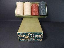 """Old Poker Chips in Vintage Box """"Royal Flush"""" PEOPLES DRUG STORES WASHINGTON DC"""""""
