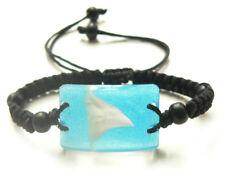 Shark Tooth Teeth Charm Bracelet Surfer Tropical Deep - Sea Blue