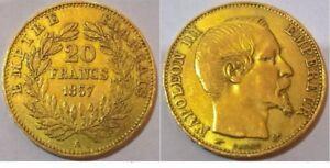 20 franchi 1857, moneta in oro, Napoleone III - RARA