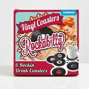 6 Pieces Retro Vinyl Record Coasters Drink Cup Holder Mat Bottle Table Placemats