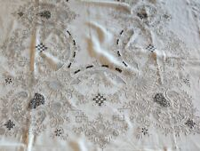 """Fabulous Antique Madeira Tablecloth with Cutwork and Reticella 116.75"""" x 66.5"""""""