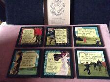 Lovely, rare ensemble de six coffret Golf à thème MAGIC ART Corporation coasters