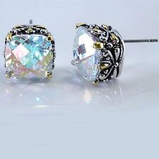 Balinese Designer AB Aurora Borealis CZ Filigree Silver Gold 18KGP Earrings