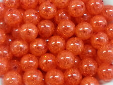 100pcs 20mm Orange Crackle Beads Chunky Bubblegum Gumball US SELLER
