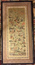 Antique Old Large Chinese Asian Silk Old Embroidery Panel Frame Folk Art Village