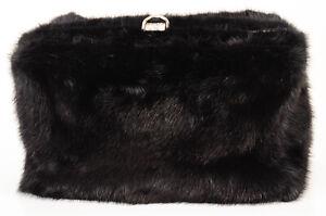 Proenza Schouler black mink fur asymmetric frame clutch handbag purse NEW $2895