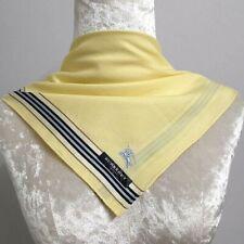 "NWT Handkerchief Scarf Unisex Yellow Italic Jacquard Blue Striped Cotton19"""