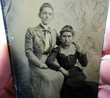 ca 1880 Tintype Photo - Affectionate Women - Holding Hands etc - Gay Lesbian
