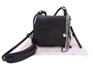 JIMMY CHOO Bon Bon Saddle Crossbody Shoulder Bag Black Leather/Silver - e47853