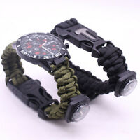 Outdoor Survival Watch Bracelet Paracord Compass Flint Whistle MultifunctionTool