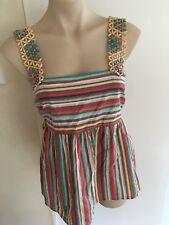 Ladies SPORTSGIRL Stripe Top Size Small Wooden Bead Straps Summer Cotton