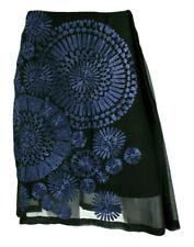 DRIES VAN NOTEN Black Silk Chiffon Periwinkle Blue Embroidered Skirt 38