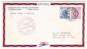 HONG KONG CHINA-SG#124,#126-HONG KONG AIR MAIL 29/AP/37-TRANSPACIFIC