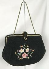 Vtg MADE IN FRANCE Floral Black Seed Bead Tapestry Evening Handbag Purse ESTATE