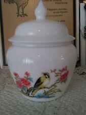 Vintage AVON BIRD OF PARADISE Milk Glass Decanter & Lid Candy dish