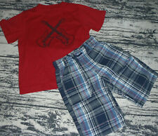 Gymboree Rock On Size 5 Shirt 4 Plaid Shorts Outfit NWT