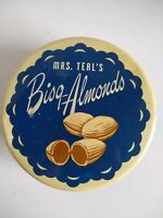 Vintage Candy Tin Mrs. Teal's Bisq Almonds Allied Confections 1950's Advertising