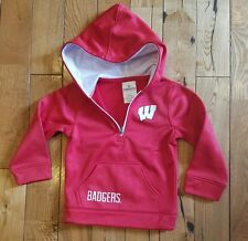 NWT kids KNIGHTS APPAREL NCAA Wisconsin Badgers red/white hoodie jacket size 5/6